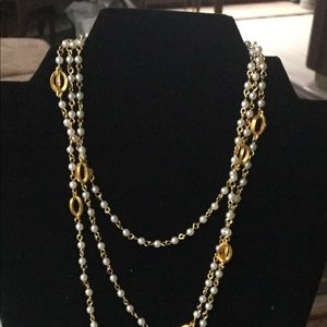 Vintage Faux Pearl and Gold Tone Bead  Necklace